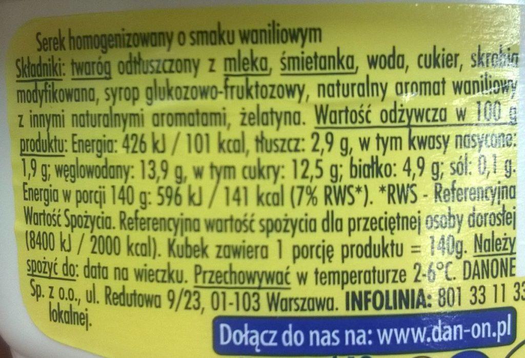 Serek homogenizowany 140 g dostarcza 19,5 g cukru
